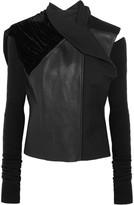 Rick Owens Sphinx leather, velvet and wool biker jacket