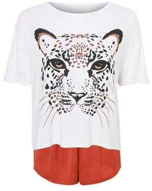 George Leopard Print Satin Short Pyjamas