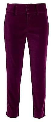 Alice + Olivia Women's Stacey Velvet Slim Ankle Pants