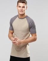 Asos Longline Muscle T-Shirt With Contrast Raglan Sleeves In Beige/Gray
