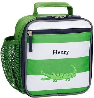 Pottery Barn Kids Classic Lunch Bag, Fairfax Green/White Stripe w/ Navy Trim