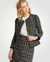 Ann Taylor Petite Tweed Fringe Military Jacket