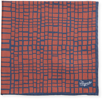 Ermenegildo Zegna Men's Graphic Cotton-Silk Pocket Square, Red