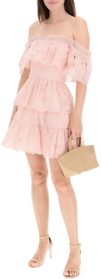 Thumbnail for your product : Self-Portrait BLUSH 3D FLOWER MINI DRESS 8 Pink