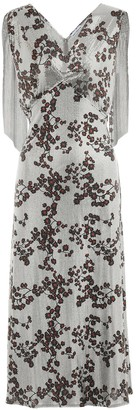 Paco Rabanne Floral lame midi dress