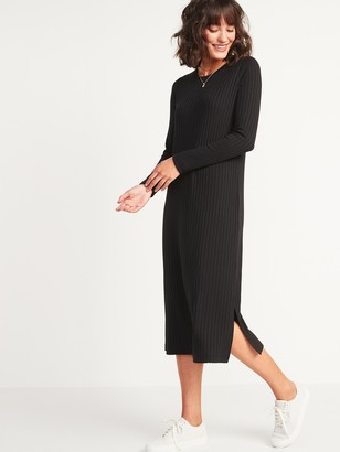 Old Navy Rib-Knit Long-Sleeve Midi Shift Dress for Women