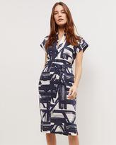 Jaeger Linen Brushstroke Belt Dress