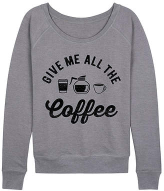 Instant Message Women's Women's Sweatshirts and Hoodies HEATHER - Heather Gray 'All the Coffee' Slouchy Pullover - Women & Plus