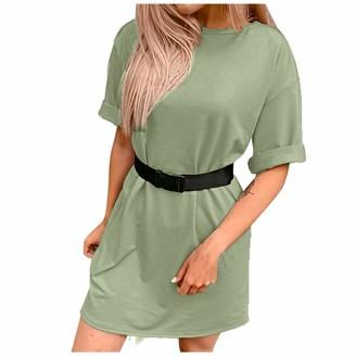 Shobdw Women's Clothes HEATLE Women's Fashion Tops Loose T-Shirt + Pants with Belt Ladies Solid Color Home Sports Blouse Dress Summer Casual Short Sleeve Suit Shorts(Dress-Mint Green M)