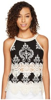 Romeo & Juliet Couture Sleeveless Lace Neck and Trim Top