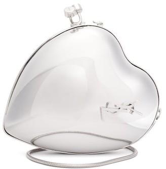 Saint Laurent Love Heart-shaped Minaudiere Clutch Bag - Silver