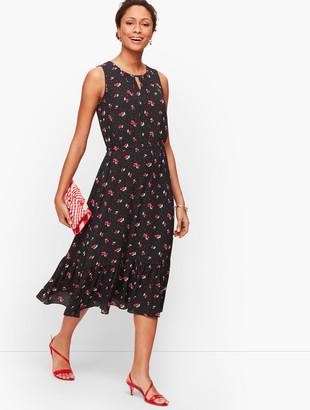 Talbots Cherry Print Fit & Flare Dress