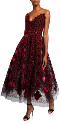 Oscar de la Renta Strapless Velvet-Embroidered Tea Length Dress