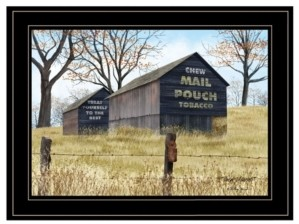 "Trendy Décor 4U Treat Yourself Mail Pouch Barn by Billy Jacobs, Ready to hang Framed Print, Black Frame, 19"" x 15"""
