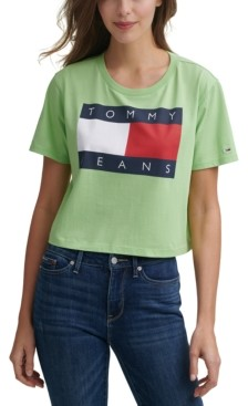 Tommy Jeans Logo-Print Cropped Cotton T-Shirt