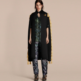 Burberry Wool Blend Military Cape with Tassels