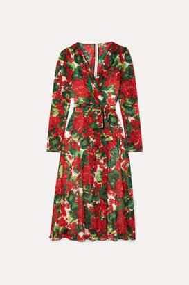 Dolce & Gabbana Floral-print Stretch-silk Chiffon Wrap Dress - Red
