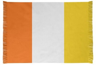 Miami Flatweave Orange/White/Yellow Rug East Urban Home Non-Skid Pad Included: Yes