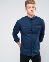 Jack and Jones Core Shirt With Military Pocket And Webbing In Slim Fit