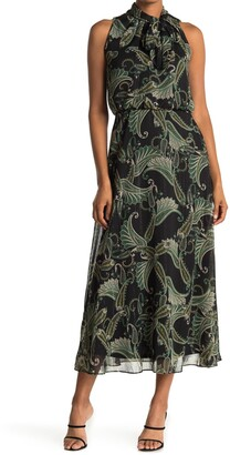 London Times Paisley Tie Neck Sleeveless Chiffon Maxi Dress