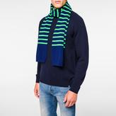 Paul Smith Men's Neon Green Stripe Lambswool Scarf