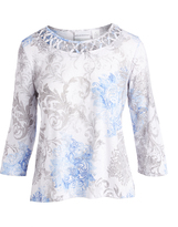 Alfred Dunner Blue, Gray & White Abstract Tee - Petite