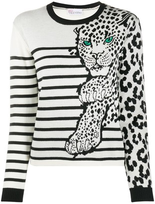 RED Valentino Intarsia-Knit Leopard Striped Jumper