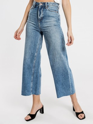 Articles of Society Sophie Wide Leg Jeans in Mid Authentic Blue Denim