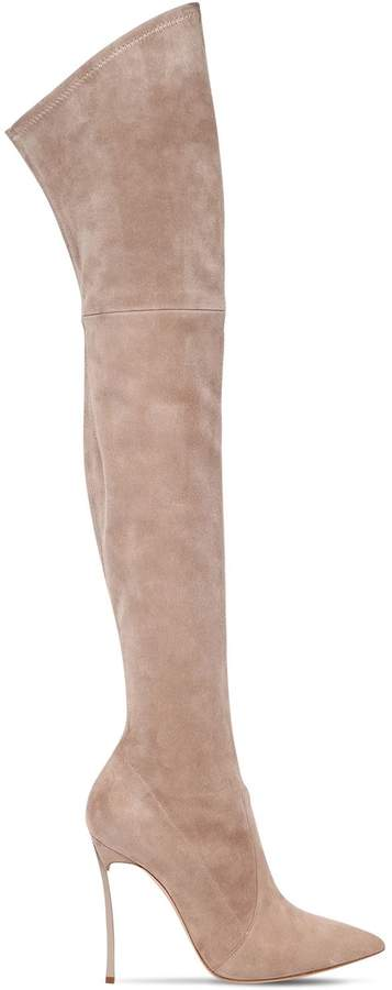 Casadei 100mm Blade Suede Over The Knee Boots