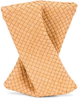 Bottega Veneta Crisscross Clutch in Almond & Gold   FWRD