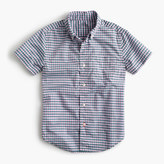J.Crew Kids' short-sleeve Secret Wash shirt in micro gingham