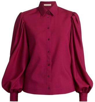 Alaia Blouson-Sleeve Wool Top
