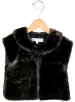 Tartine et Chocolat Girls' Faux Fur Bow-Accented Vest