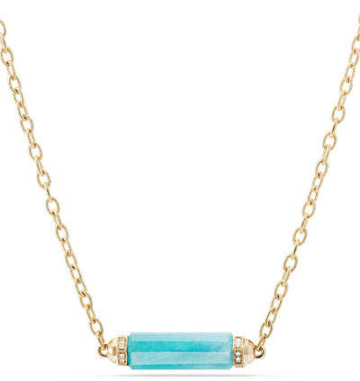 David Yurman Faceted Amazonite Barrel Necklace with Diamonds