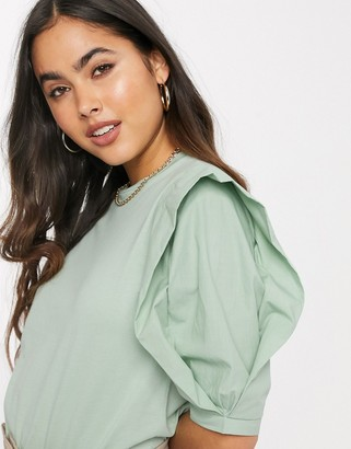 Stradivarius t-shirt with frill and poplin sleeve in green