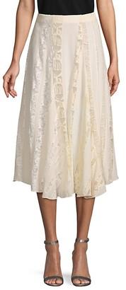 Chloé Lace-Trim Silk Skirt