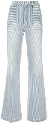 Frame Striped Flared Jeans