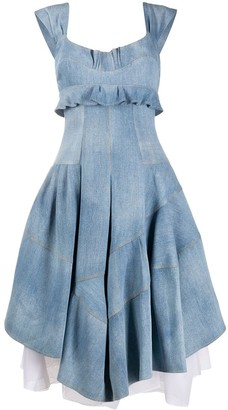 Ermanno Scervino Denim Ruffle Trim Midi Dress