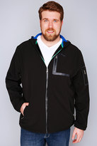Yours Clothing D555 Black Soft Shell Zip Up Coat With Hood