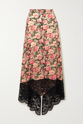 Paco Rabanne Asymmetric Lace-trimmed Floral-print Stretch-jersey Skirt - Pink