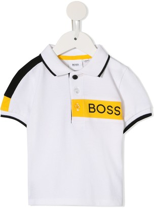 Boss Kids panelled polo shirt