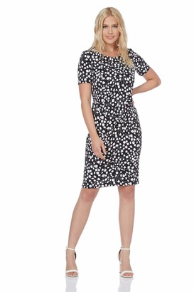 Roman Originals Women Floral Print Shift Dress Ladies Textured Bodycon Work Smart Office Business Occasion Pencil Fitted Tight Tailored Short Sleeve Round Crew Neck - Black & White - Size 12