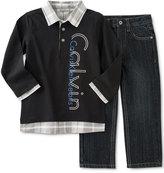 Calvin Klein Baby Boys' 2-Pc. Layered-Look Shirt & Jeans Set