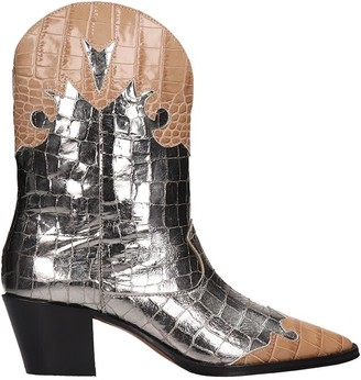 Paris Texas Texan Ankle Boots In Silver Leather