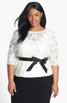 Alex Evenings Plus Size Women's Satin Rosette & Embellished Lace Top
