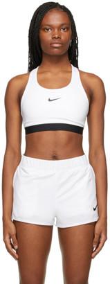 Nike White Swoosh Sports Bra
