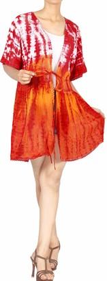 LA LEELA Women Hand Tie Dye Summer Kimono Rayon Cardigan Bikini Cover up Midi Beach Robe Kaftan Boho Blouse Top Beachwear Blood Red_A147[OSFM] UK: 14(M)-24(2XL)