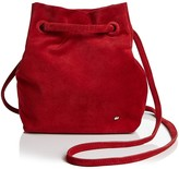 Halston Ali Drawstring Small Suede Crossbody