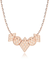 Rebecca Melrose Rose Gold Over Bronze Necklace w/Five Geometric Charms