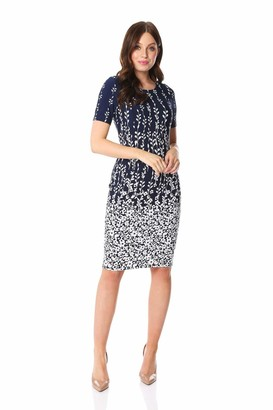 Roman Originals Women Floral Border Print Textured Shift Dress Ladies Bodycon Work Smart Office Business Event Occasion Pencil Fitted A Line Tight Tailored Thick - Navy - Size 10